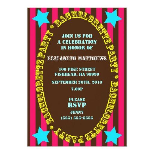 Rainbow Circus Bachelorette Party Invitation