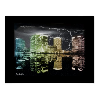 Rainbow Cityscape in Storm Poster