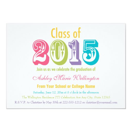 rainbow class of 2015 graduation party invitation zazzle