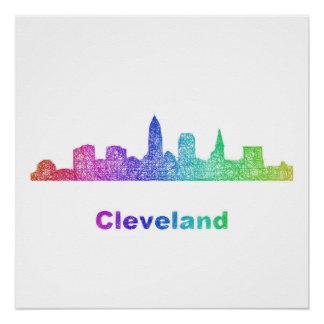 Rainbow Cleveland skyline Poster
