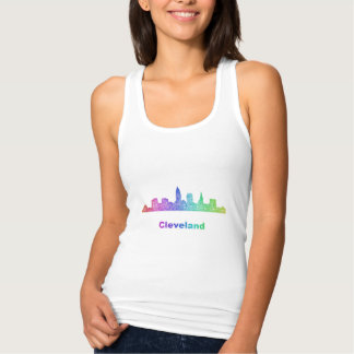 Rainbow Cleveland skyline Tank Top