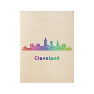 Rainbow Cleveland skyline Wood Poster