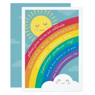 Rainbow Cloud and Sun Birthday Invitation