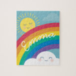 "Rainbow Cloud and Sun Personalized Puzzle<br><div class=""desc"">Add some color to your day with this fun and adorable puzzle. Personalized with your name or message and featuring an original little em illustration of a happy cloud and sun and a bright rainbow.</div>"