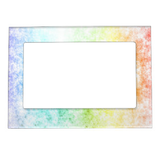 Rainbow Cloud Background Customize or Stay Cloudy Photo Frame Magnet