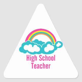 Rainbow Cloud High School Teacher Triangle Sticker