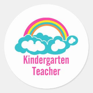 Rainbow Cloud Kindergarten Teacher Round Stickers