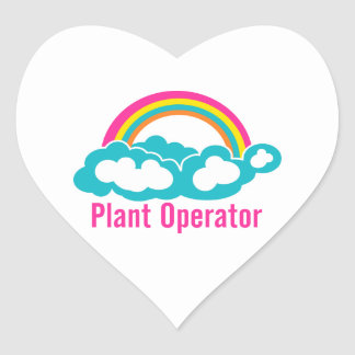Rainbow Cloud Plant Operator Heart Sticker