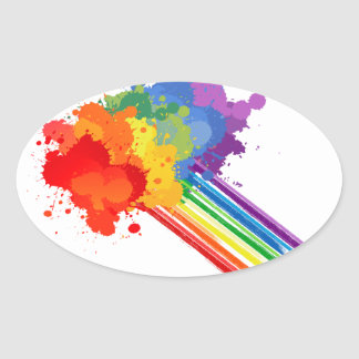 RAINBOW CLOUD -.png Oval Sticker