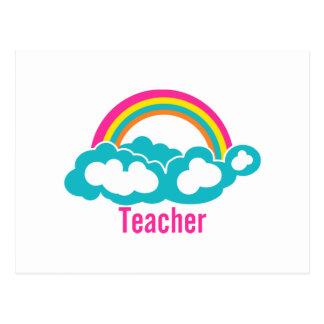 Rainbow Cloud Teacher Postcard