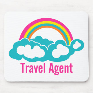 Rainbow Cloud Travel Agent Mouse Pad