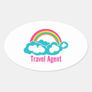 Rainbow Cloud Travel Agent Oval Sticker