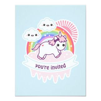 Rainbow Cloud Unicorn Birthday Party Invites