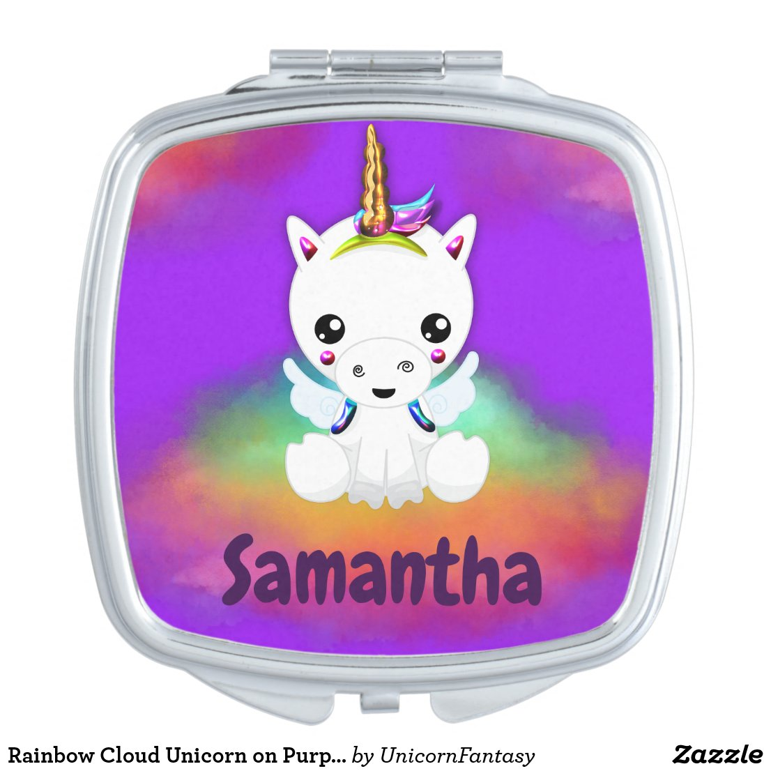 Rainbow Cloud Unicorn on Purple Compact Mirror
