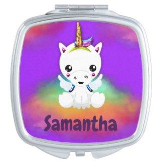 Rainbow Cloud Unicorn on Purple Compact Mirror
