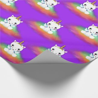 Rainbow Cloud Unicorns on Purple Wrapping Paper