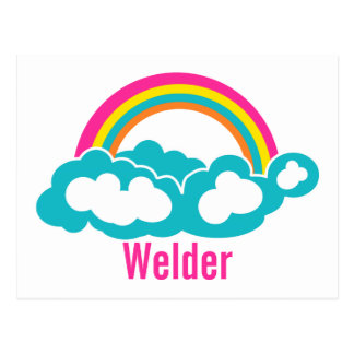 Rainbow Cloud Welder Postcard