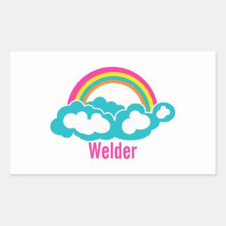 Rainbow Cloud Welder Rectangular Sticker