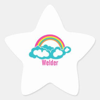 Rainbow Cloud Welder Star Sticker