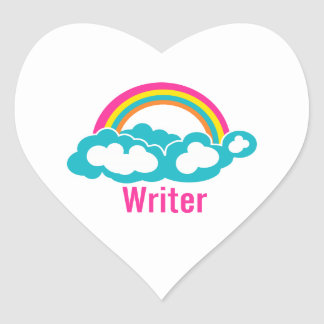 Rainbow Cloud Writer Heart Sticker