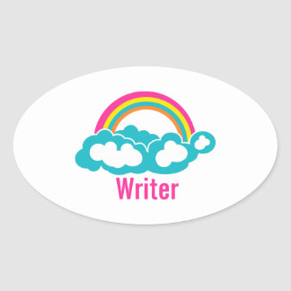 Rainbow Cloud Writer Oval Sticker