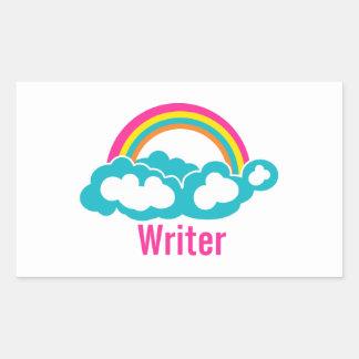 Rainbow Cloud Writer Rectangular Sticker