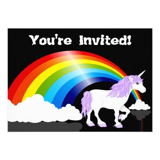 Rainbow, Clouds and Unicorn Birthday Invitation