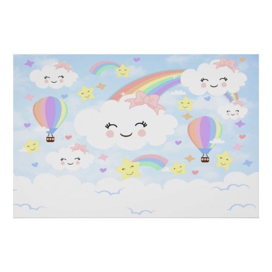 0f29d6a59cb8 Rainbow Clouds Backdrop Rainbow clouds baby shower Poster