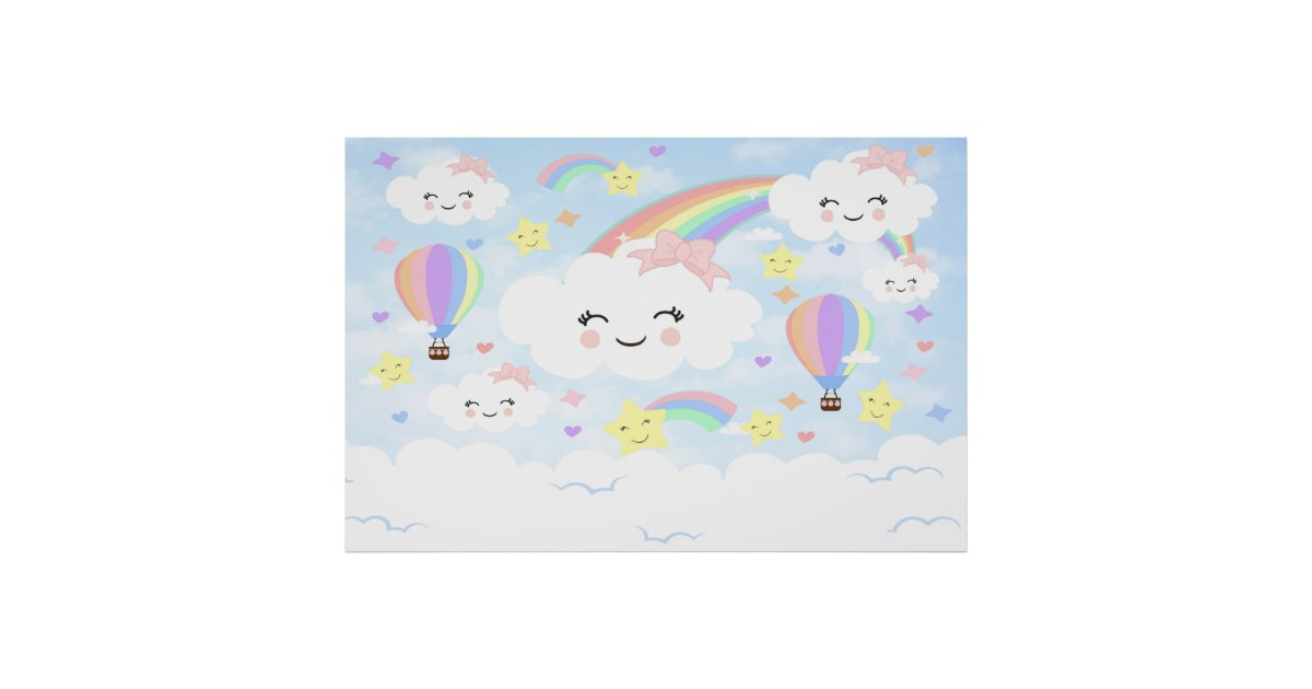 e133e60b7586 Rainbow Clouds Backdrop Rainbow clouds baby shower Poster | Zazzle.com