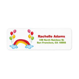 Rainbow Clouds & Balloons Birthday Address Labels