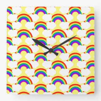 Rainbow Clouds Square Wallclocks