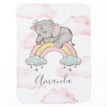 Rainbow & Clouds Elephant Watercolor Little Girl Baby Blanket