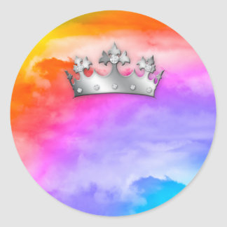 Rainbow Clouds God's Crown of Glory Classic Round Sticker