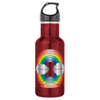 Rainbow Clouds Reflection LGBT Shirt Water Bottle