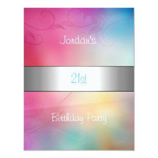 Rainbow Clouds Silver Trim 21st Birthday Party Card