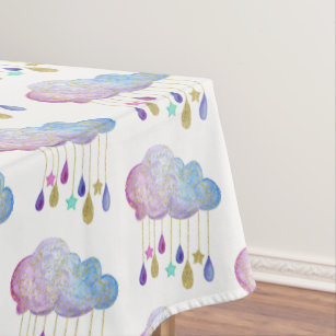 Delicieux Rainbow Clouds Stars Gold Glitter Baby Shower Cute Tablecloth