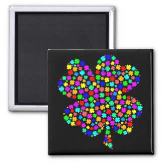 Rainbow Clover 2 Inch Square Magnet
