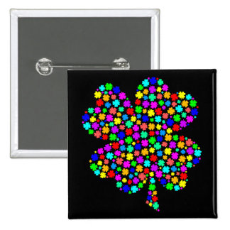 Rainbow Clover 2 Inch Square Button