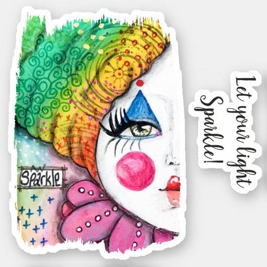 Rainbow Clown Girl Beautiful Postivity Quote Cute Sticker