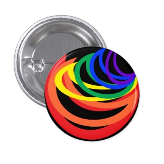 Rainbow Color Abstract Crescent Button