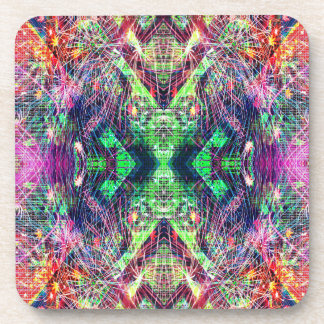 Rainbow Color Abstract Pattern Beverage Coaster