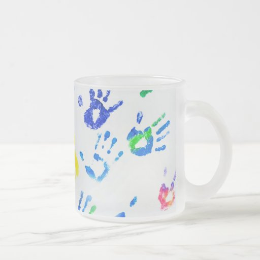 Rainbow Color Arms Prints Frosted Glass Coffee Mug