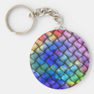 Rainbow Color Basket Weave Keychain