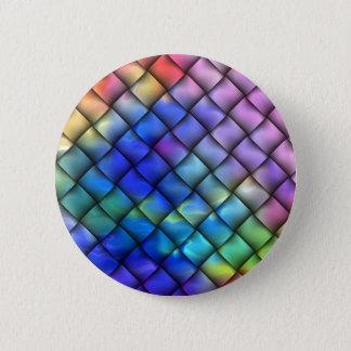 Rainbow Color Basket Weave Pinback Button