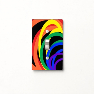 Rainbow Color Crescent Abstract Light Switch Cover