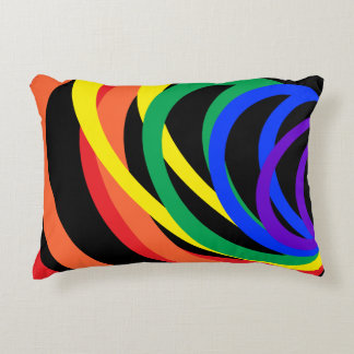 Rainbow Color Crescents Abstract Accent Pillow