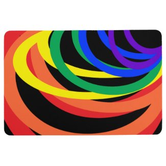 Rainbow Color Crescents Abstract Floor Mat