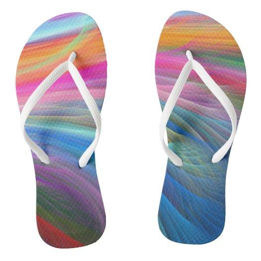 Rainbow Color Feather Design Flip Flops