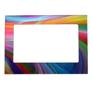 Rainbow Color Feather Design Magnetic Picture Frame
