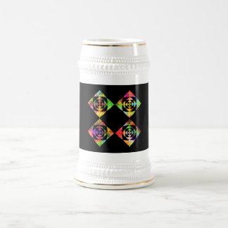 Rainbow Color Flowers. On Black. 18 Oz Beer Stein